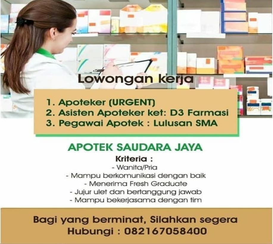 Lowongan Kerja Sma Smk D3 Di Apotek Saudara Jaya Medan September 2020 Lowongan Kerja Medan Terbaru Tahun 2021