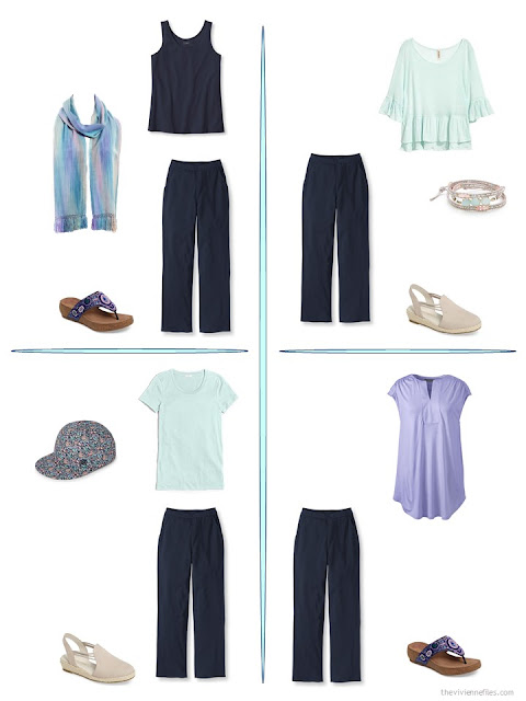 four ways to wear navy pants from a travel capsule wardrobe