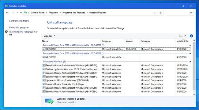 عرض التحديثات المثبتة في لوحة تحكم Windows 10.