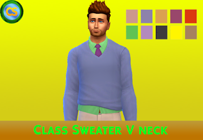 Class Sweater V Neck ~ Cepzid Sims