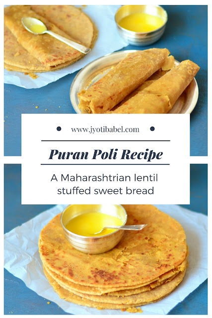 Puran Poli is a lentil stuffed sweet bread from the state of Maharashtra. Chana Dal, flour, jaggery, cardamom and ghee are the main ingredients in this puran poli recipe. Check my puran poli recipe at www.jyotibabel.com