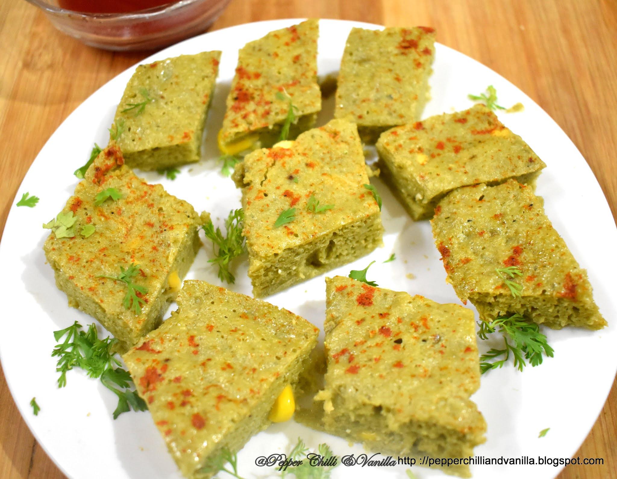 easy palak corn dhokla recipe