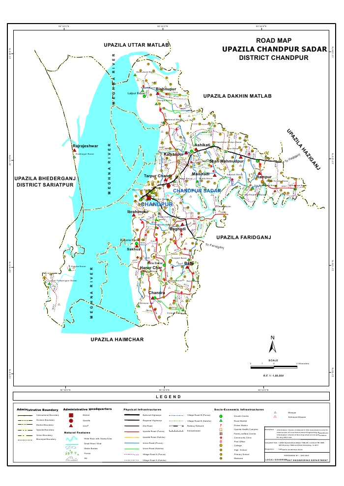 Chandpur Sadar Upazila Road Map Chandpur District Bangladesh