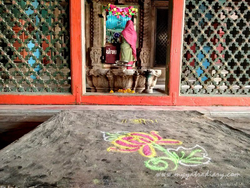 Beautiful rangoli at Dhundiraj Ganesha Temple, Vadodara, Gujarat