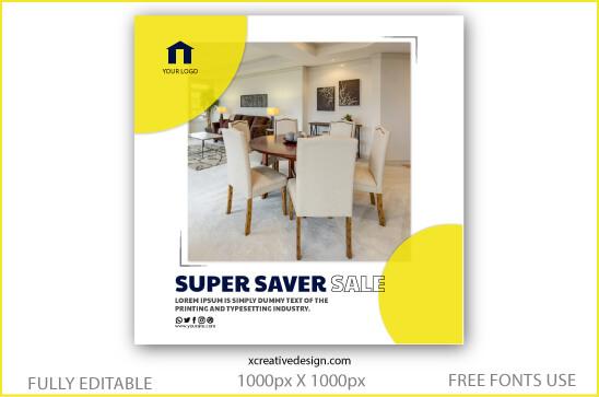 Social media posts template vector home decor