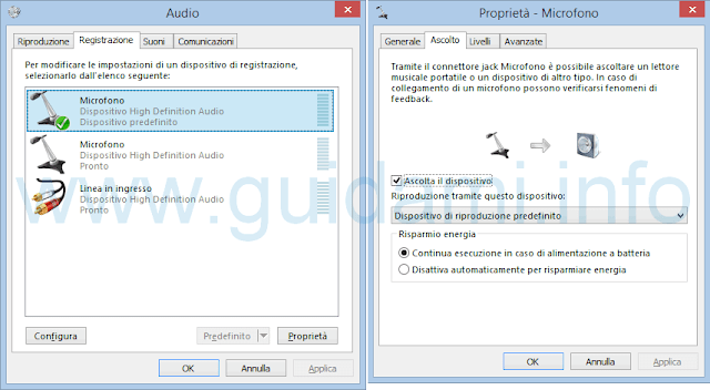 Opzioni registrazione audio microfono Windows