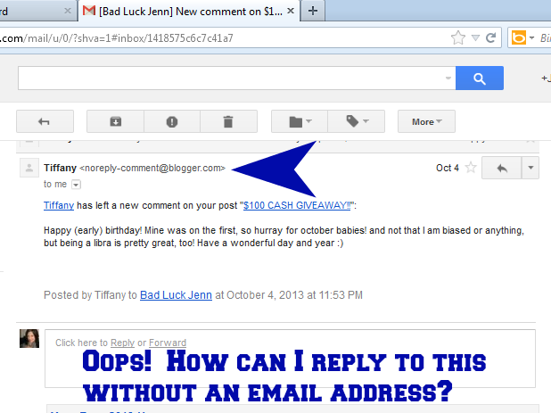 Bad Luck Jenn: Are you a No-Reply Blogger?