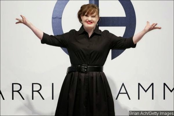 Jamie Brewer - model with Down Syndrome - walking the catwalk at New York Fashion Week