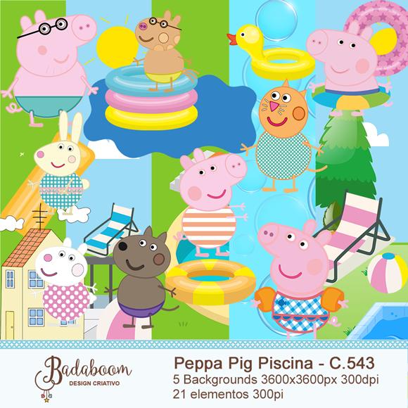 Peppa Pig, piscina, arte digital, kit digital, elementos, papeis digitais, backgrounds