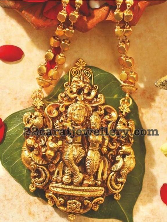 Antique radha krishna and ganesh pendants jewellery designs antique radha krishna and ganesh pendants aloadofball Images