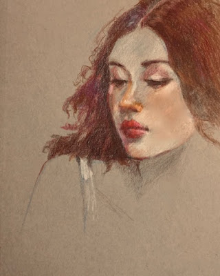 pastel pencil drawing of a red-headed woman