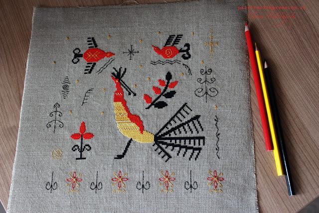 Мезенская роспись в вышивке Павлин Блог Вся палитра впечатлений Вышивка крестом Дизайн Олеси Новожиловой
