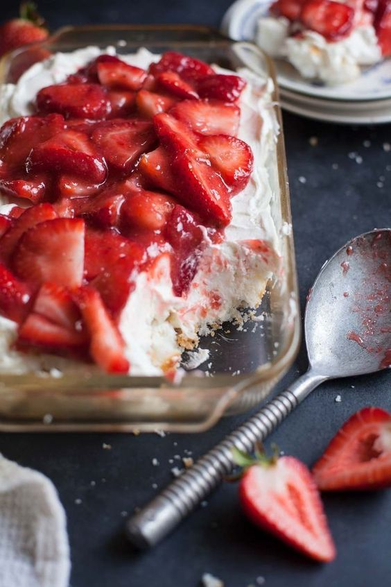One of the best spring and summer desserts--blend fresh berries with strawberry glaze, cream cheese, whipped cream and soft angel food cake. I've never taken this anywhere that it wasn't devoured.