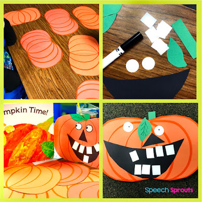 Step by Step directions to make a paper Jack-o-Lantern- plus more terrific pumpkin-themed books and activities for preschool speech therapy this fall. #speechsprouts #speechtherapy #speechandlanguage #fall #pumpkincraft, #preschool