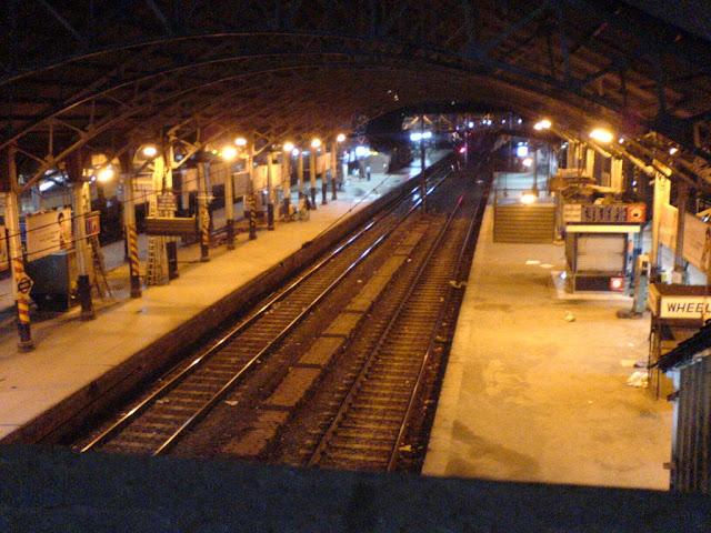Railway track, train running