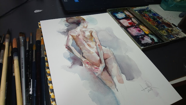 watercolor Artistic nude