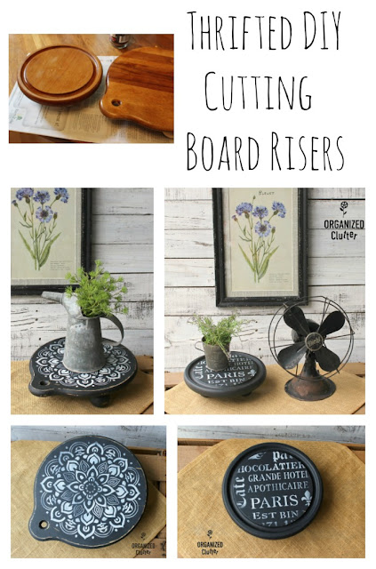 TWICE Upcycled & Repurposed Thrift Shop Cutting Board Risers #upcycle #repurpose #thriftshopmakeover #cuttingboards #stencil #cuttingboardriser #mandala