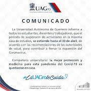 Extiende UAGRO suspensión hasta el 30 de abril