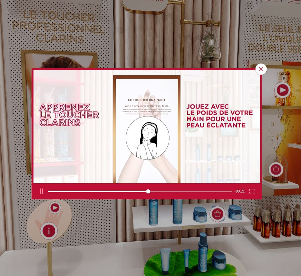 avis et test concept retail virtual store clarins