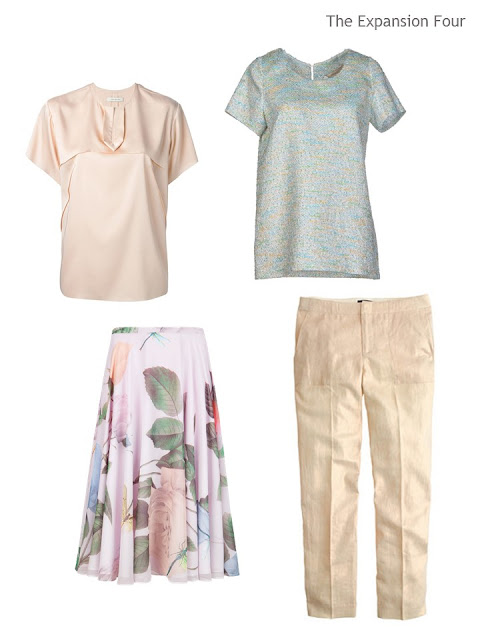 four garments in a soft, warm palette for warm weather