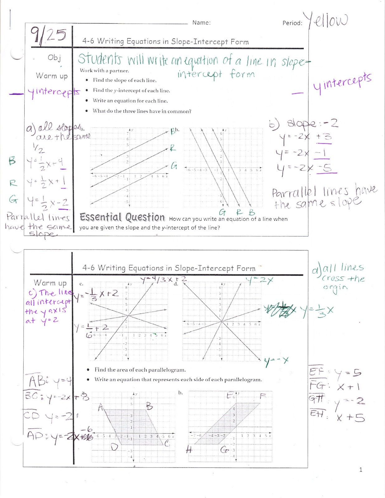 Ms Jean S Accel 7 Blog 4 6 Writing Equations In Slope