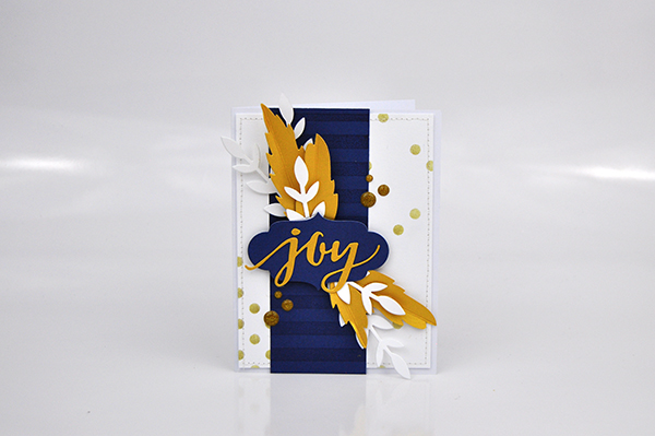 """Joy"" Stenciled Background Card by Jen Gallacher. Learn how to use a stencil to create a random pattern for your card backgrounds. #jengallacher #card #stencil #diecutting #stamping"