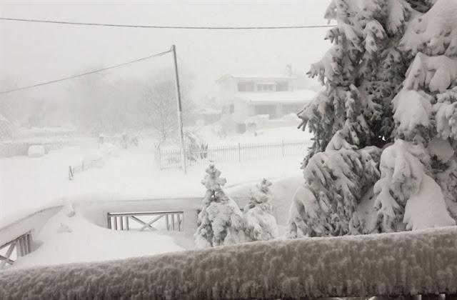 Ιστορικές φωτογραφίες Όταν το χιόνι στην Κύμη ξεπερνούσε τα δύο μέτρα