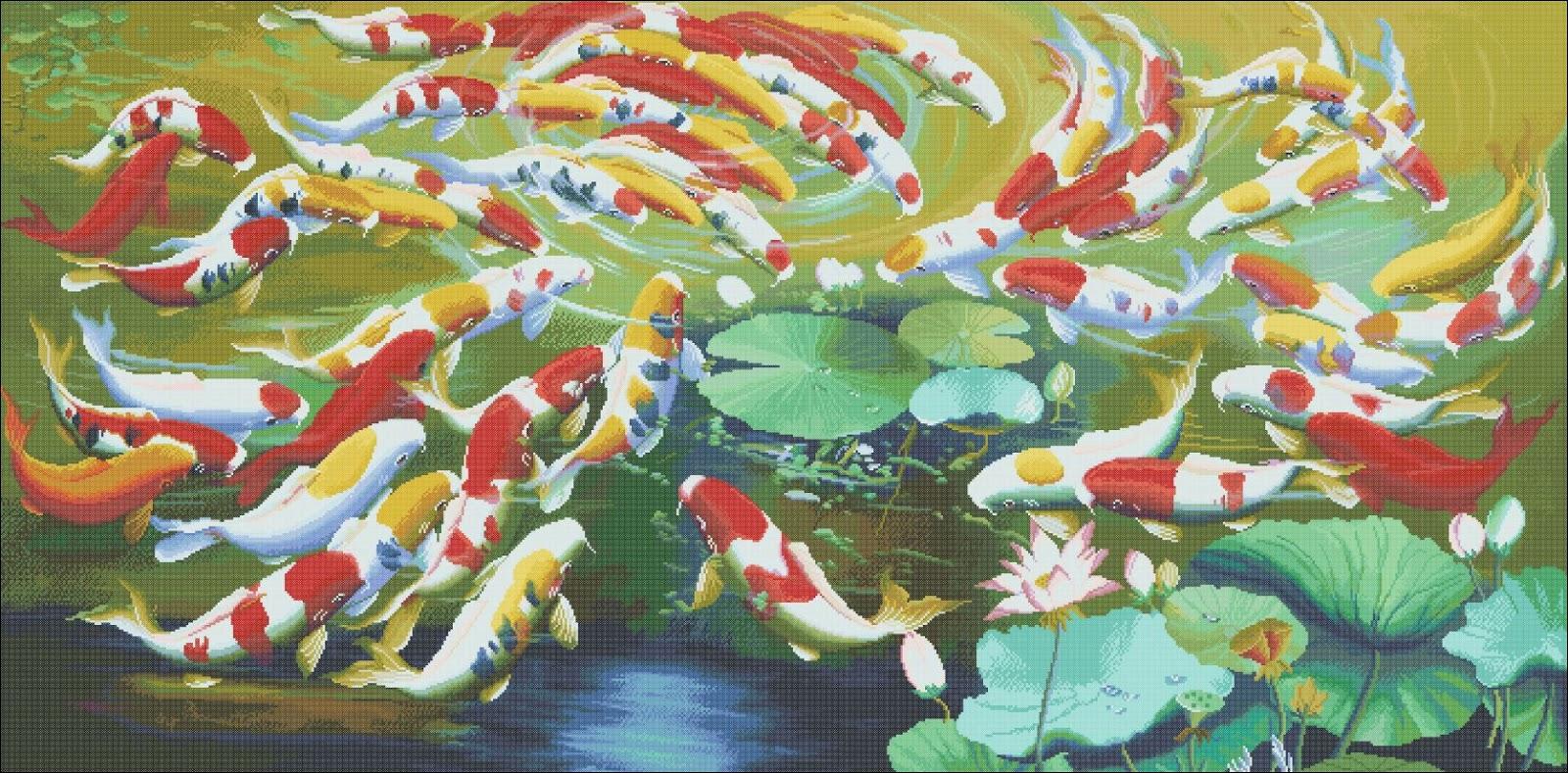 Koi fish - Counted cross stitch patterns and charts