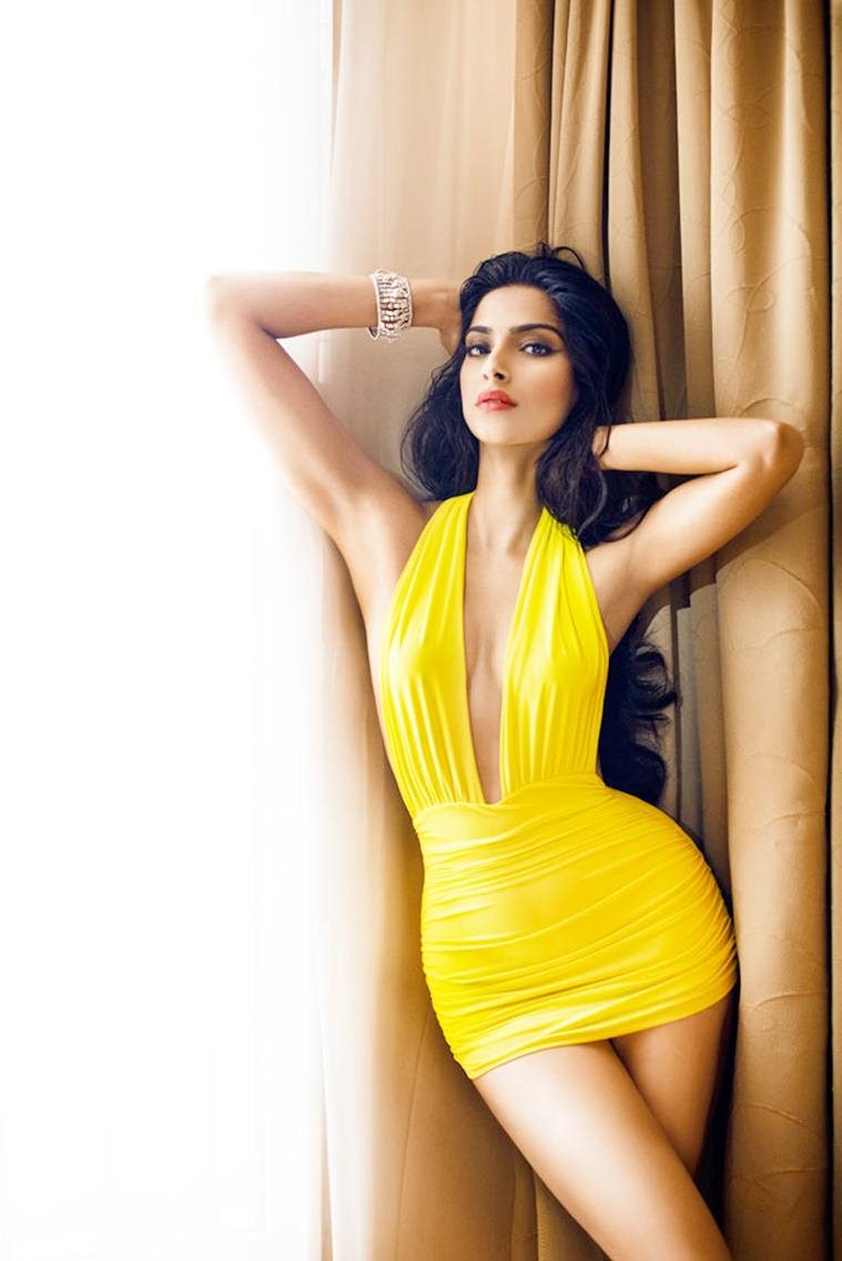 Yellow color gown Sonam Kapoor