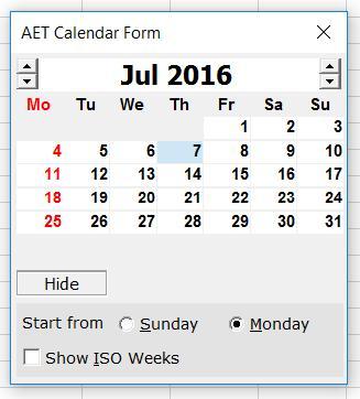 Andrew's Excel Tips: Calendar (Date Picker) Control Alternative