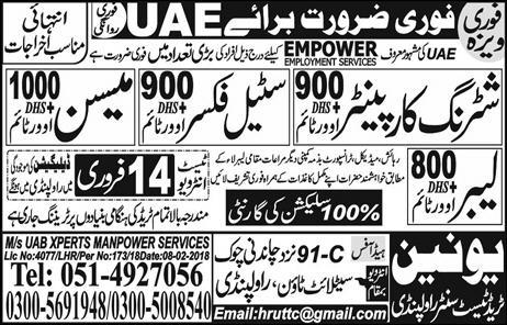Latest Today Jobs in Union Trade Centre for UAE 13 Feb 2018