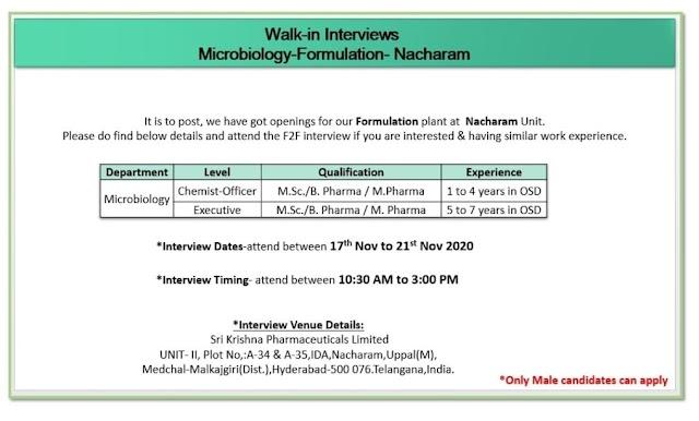 Sri Krishna Pharma | Walk-In for Warehouse / QC / Microbiology  on 17th to 21st Nov 2020