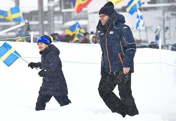 Crown Princess Victoria, Prince Daniel, Princess Estelle. Prince Oscar wore Sorel winter carnival boots