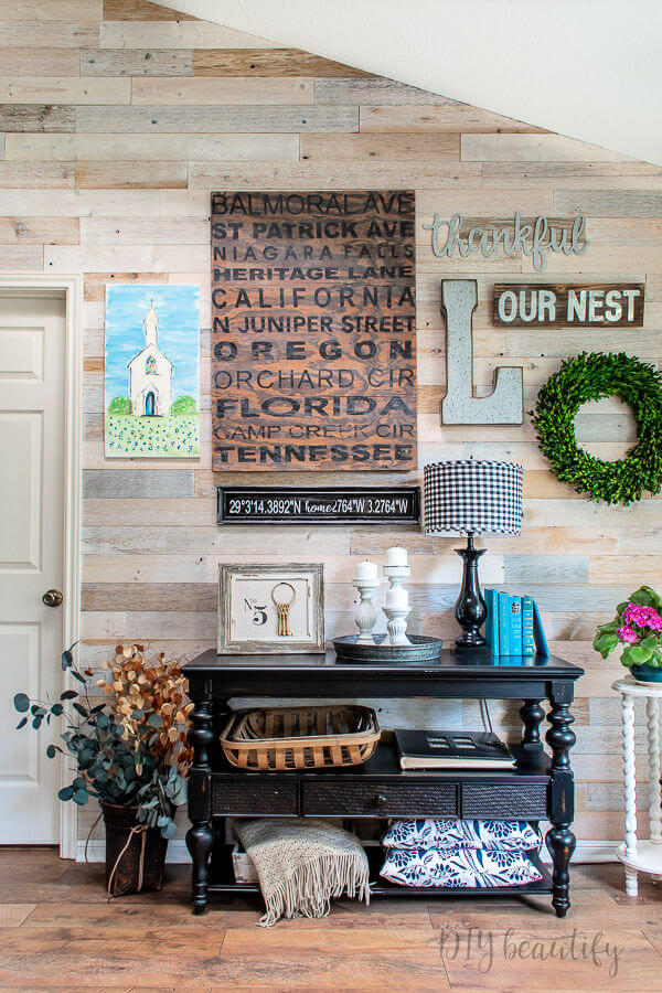 gallery wall with DIY painted church