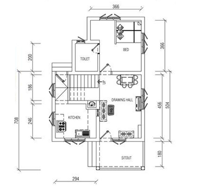 Small plot kerala house plan in 950 sq ft with free plan for 950 sq ft house plans