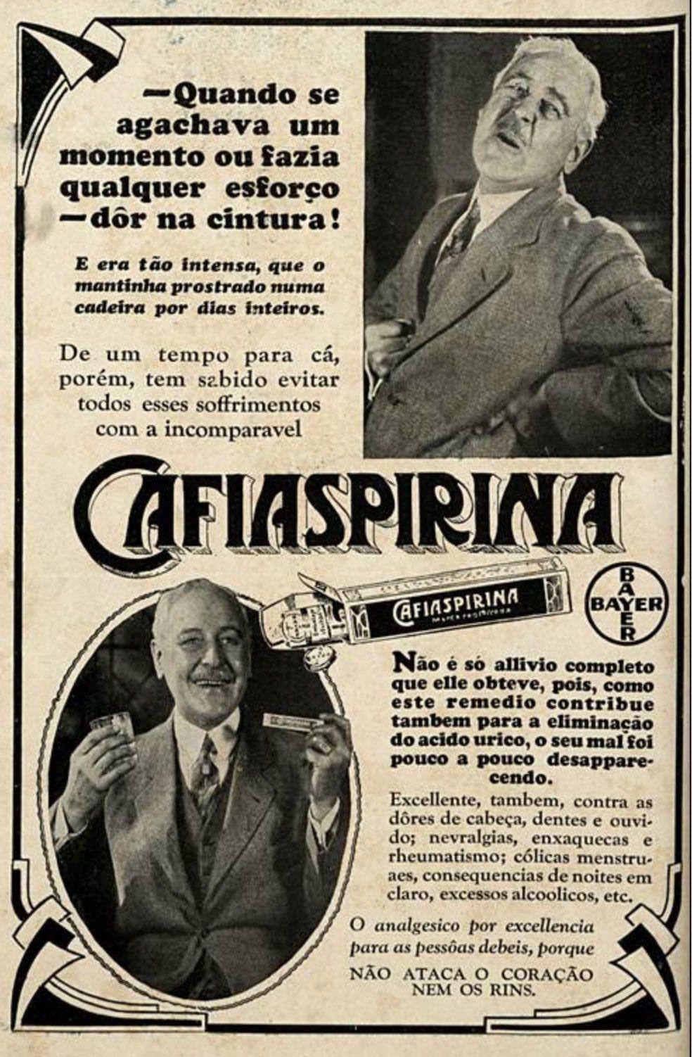 Propaganda antiga da Cafiaspirina da Bayer em 1929