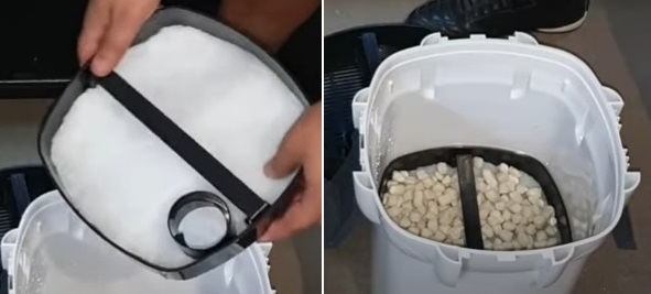 Setting up 2nd basket of the canister filter