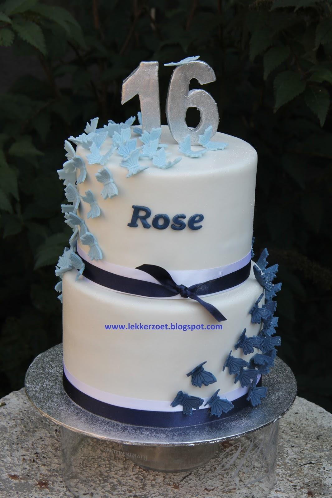 taart 16 jaar lekker zoet: vlinder taart Rose 16 jaar taart 16 jaar