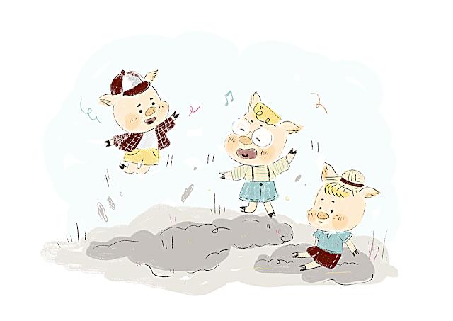cochons, casterman, los tres cerditos, laura gomez, ilustracion