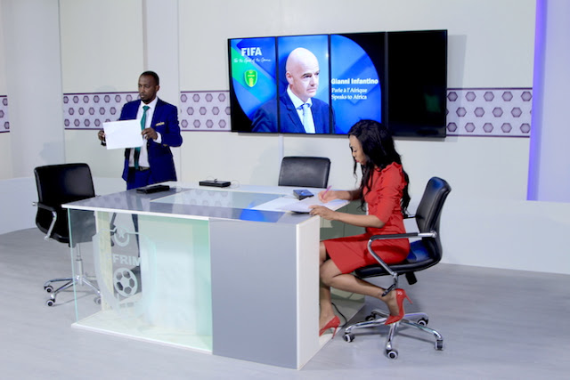 Photos: Ghanaian Sports Journalist Juliet Bawuah Interviews FIFA President Gianni Infantino