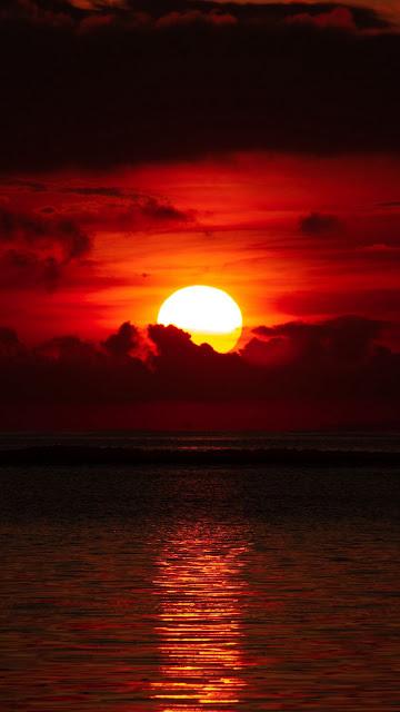 HD Wallpaper Sunset, Sea, Sun, Clouds, Dusk