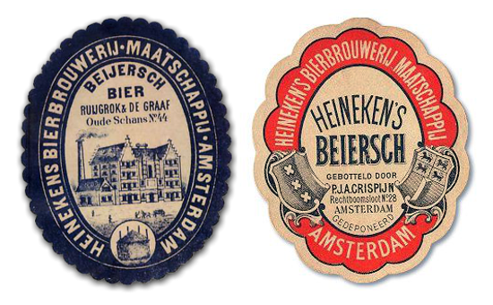 Heineken labels 1870s