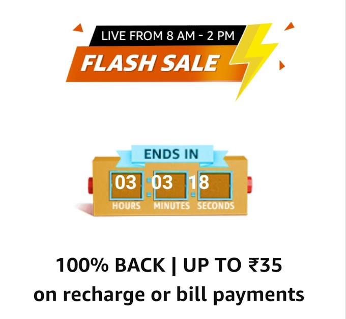 Amazon Flash Sale – Get 100% Cashback Up to Rs 35 on Recharge