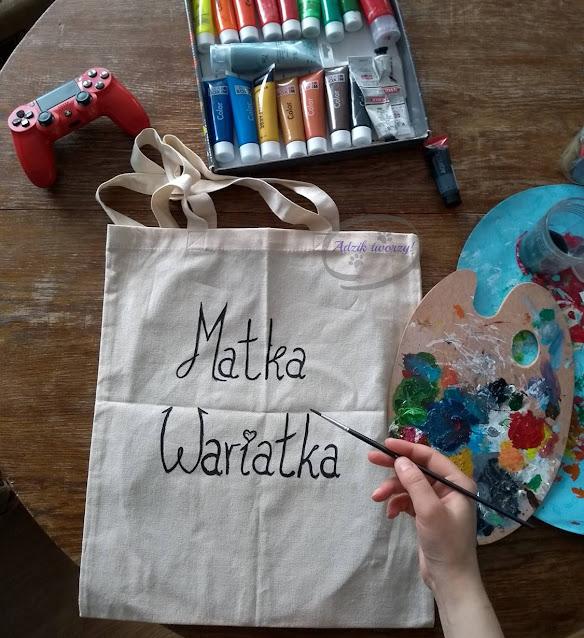 Torba handmade Matka wariatka malowana farbami - Adzik tworzy