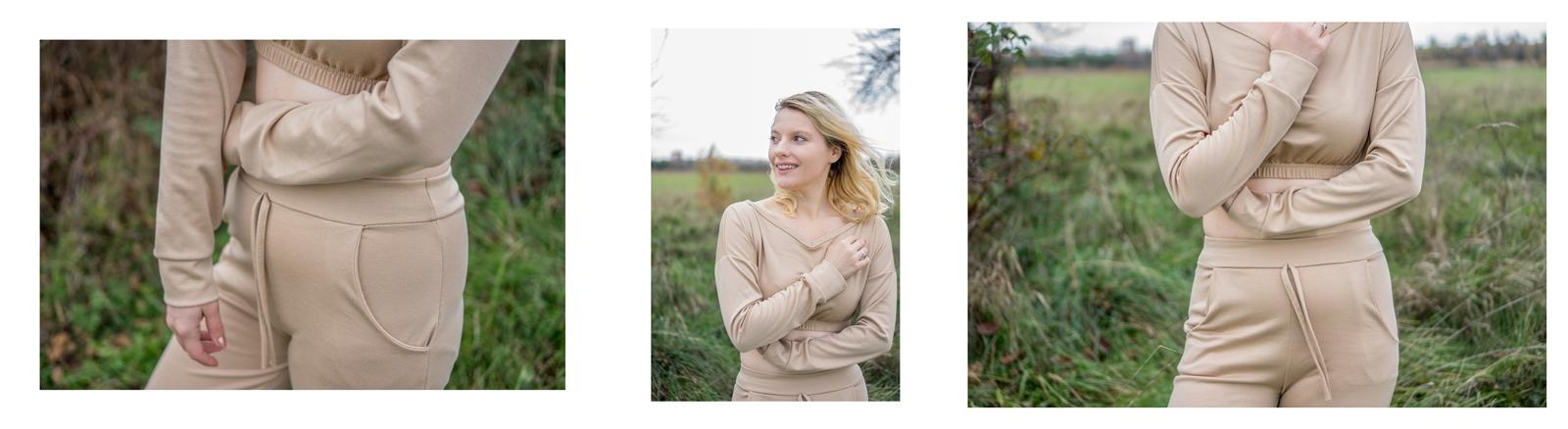 4 stylizacja z beżowymi spodniami dresowymi karmelowa piaskowa bluza dresowa idealna na jesień w czym na siłownię modne dresy zestawy komplety dresowe wygodne na podróż