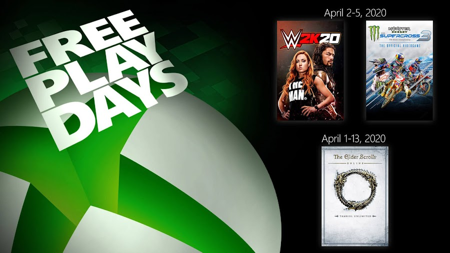 elder scrolls online tamriel unlimited monster energy supercross 3 wwe 2k20 xbox live gold free play days event