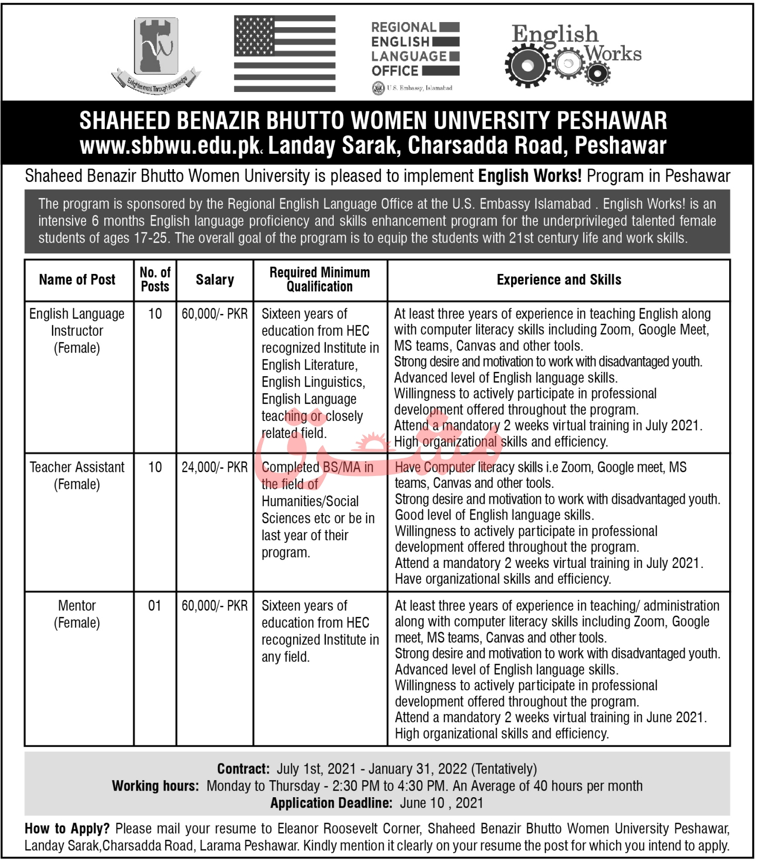 Shaheed Benazir Bhutto Women University Peshawar Jobs 2021 in Pakistan