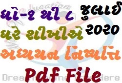 Std-1 To 8 July Ghare Shikhie Adhyayan Nishpati In Pdf File