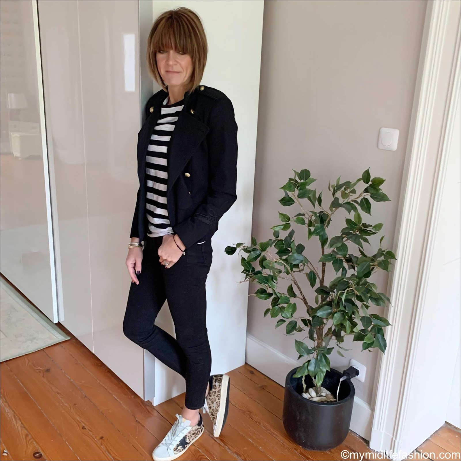 my midlife fashion, Isabel Marant Etoile military jacket, raey striped long sleeve top, j crew 8 inch toothpick true black jeans, golden goose superstar low top leather trainers