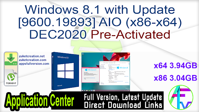 Windows 8.1 with Update [9600.19893] AIO (x86-x64) DEC2020 Pre-Activated